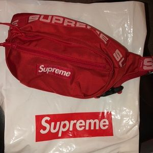 Red supreme fanny pack
